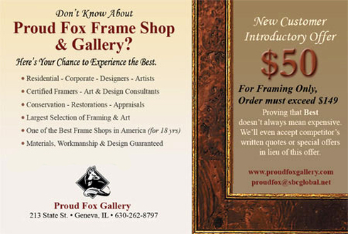 New Customer Coupon for Custom Picture Framing at Proud Fox Gallery ...